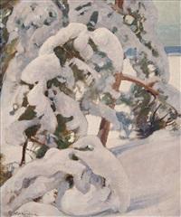 snowy pine trees by pekka halonen