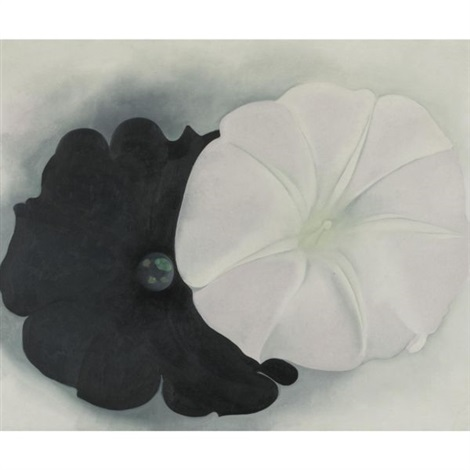 black petunia and white morning glory i by georgia okeeffe