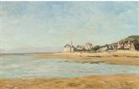 la plage de beuzeval, normandie by lucien charles justin quintard