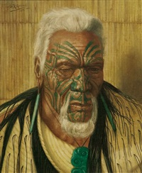thoughts of a tohunga. portrait of wharekauri tahuna by charles goldie
