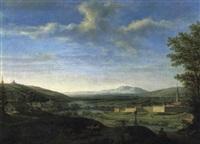 panoramablick mit einer stadt und befestigungsmauer by johann michael mettenleiter