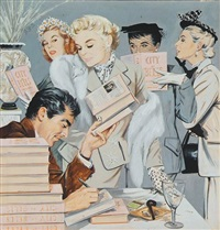 author at book signing with several women in attendance (illus. for collier's) by j. frederick smith