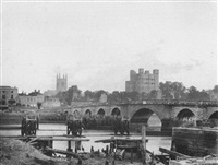 rochester cathedral, castle and old bridge by frederick scott archer