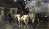 riders before a cottage by georg heinrich büttner