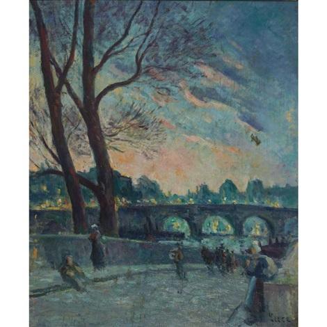 au bord de la seine le soir by maximilien luce