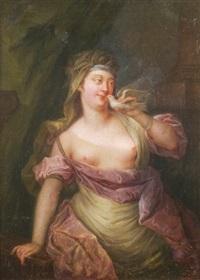 prêtresse de vénus tenant une colombe by jacques-françois courtin