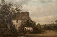figures and horses beside a cottage by thomas smythe