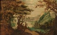 paysage de forêt avec un promeneur by paul bril