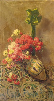 red and white carnations in a ceramic vase by aurelio tolosa alsina