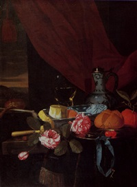 a still life of a peeled lemon and an orange in a blue and white bowl, pink roses, cherries, a bread roll and a blue ribbon with a key on a silver plate by gillis jacobz van hulsdonck