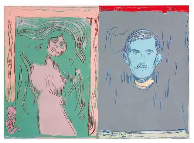自畫像、骷髏手臂與麥當娜 self portrait with skeleton arm and madonna after edvard munch by andy warhol