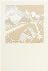 mountain stream (+ 4 others; 5 works, various sizes, + artist's book w/linocut designs) by leonard beaumont