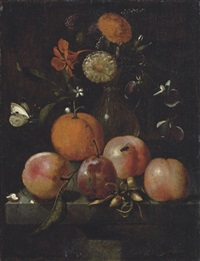 plums, an orange, a cabbage white butterfly and flowers in a glass vase on a stone ledge by martinus nellius