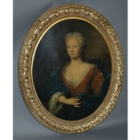 portrait of a noble woman in a blue cloak by pierre mignard