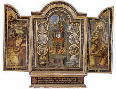 the crucifixion the annunciation the assumption of the virgin the coronation of the virgin triptych by german flemish school 16