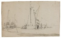 dutch boats lying off a beach by willem van de velde the elder