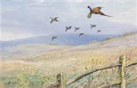 pheasant and grey partridge taking flight by george edward lodge