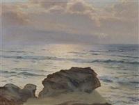 coucher de soleil sur la côte rocheuse by kostantine weschiloff alexandrovich
