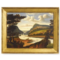 view along the delaware river with the water gap by thomas chambers