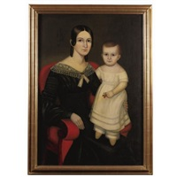 portrait of a young mother with a little girl standing in lap wearing yellow slippers by joseph whiting stock