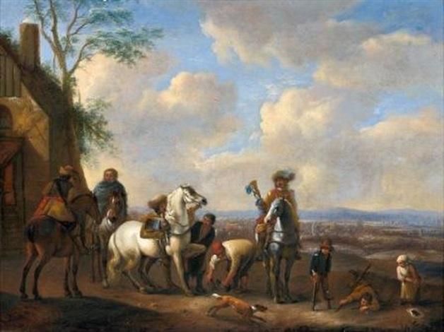 la halte des cavaliers et lembarquement 2 works by pieter wouwerman