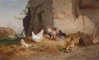 ein hühnerhof by théophile victor emile lemmens