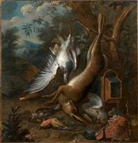 trophée de chasse au lièvre, oiseaux et fruits by willem frederik van royen