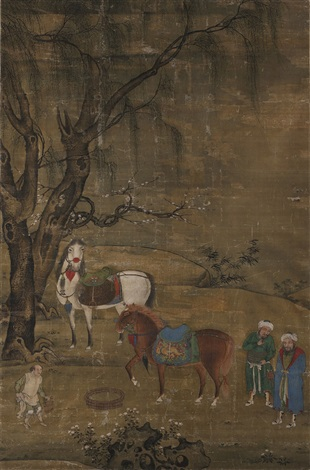 饮马图 watering the horses by hu cong