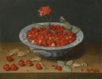 a still life with wild strawberries and a carnation in a ming dynasty, wanli period), blue and white kraak-type barbed-rim bowl, with cherries and redcurrants on a wooden ledge by jacob van hulsdonck