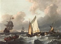 a smalschip and other boats in a swell by wigerus vitringa