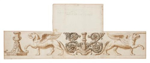 two griffons with a decorative urn and rinceaux motif design for a frieze by nicolas poussin