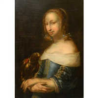 lady with a parrot by gabriel metsu