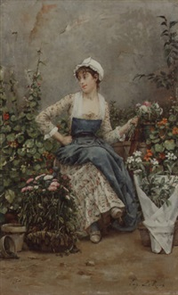 the flower seller by louis eugène leroux