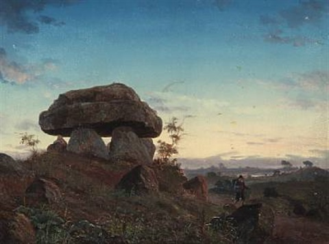evening landscape with barrows and a peddler by niels anker lund