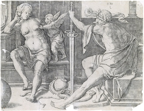 coat of arms with a mask held by two genii mars venus and cupid 1530 lrgr 2 works by lucas van leyden