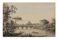 a view of the tiber with saint peter's and the castel sant'angelo, rome in the distance by william marlow