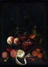 nature morte aux raisins, pêches, oranges et citrons by martinus nellius