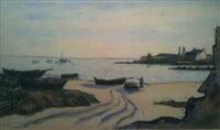 barques de pêche sur la grève et au mouillage by louis robert antral