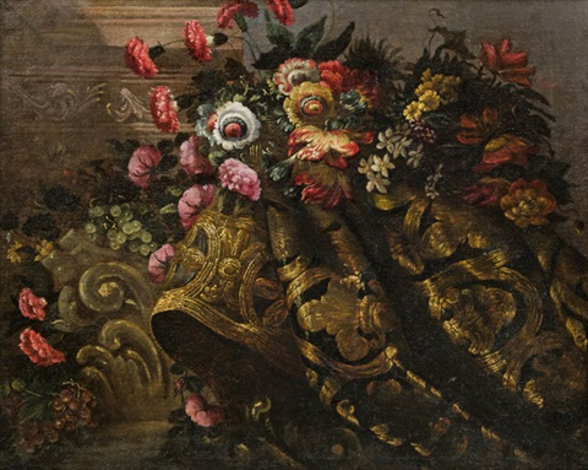 stillleben mit einem blumenbouquet auf prunkvoller draperie by francesco fieravino il maltese
