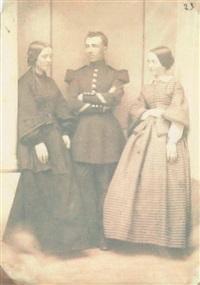 portrait de deux femmes et d'un militaire by jean baptiste frénet
