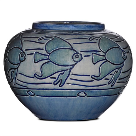 early and unusual vessel incised with stylized fish by newcomb college pottery