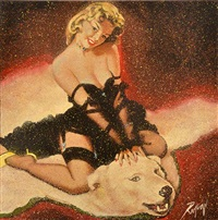 pin-up girl with bear skin by dennis ropar
