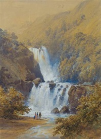 colonial landscape with waterfall by william mein smith