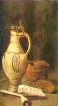 a still life with an earthenware ewer, a bowl of charcoal... by hendrick van streeck