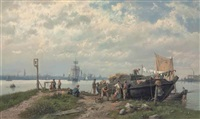 fishing folk, with a view of amsterdam in the background by hermanus koekkoek the elder