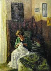 woman sewing by tibor idranyi
