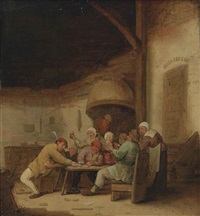 peasants drinking and playing cards in a tavern by bartholomeus molenaer
