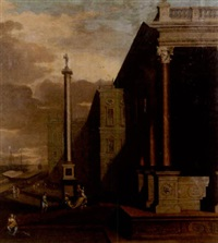 elegant figures on the steps of a palazzo, a view to a harbour beyond by jacobus balthasar peeters