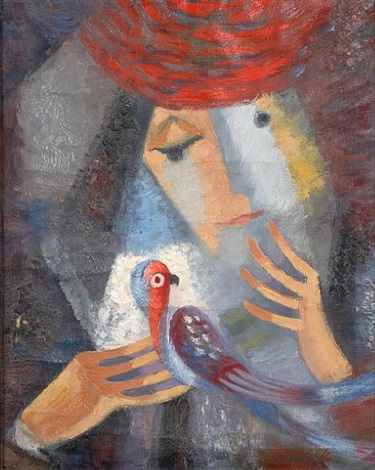 untitled woman with parrot by viktor rafael gyözö