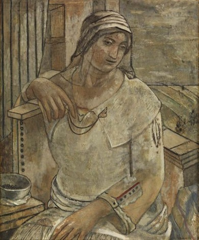 seated woman madonna by isabel bishop